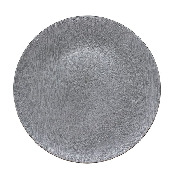 Sousplat redondo plástico cinza 33cm Cascavel