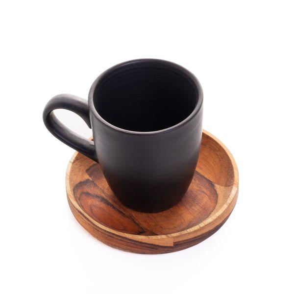 Jogo de 4 xícaras café com pires madeira Teca 93ml 18x18x8 Rojemac