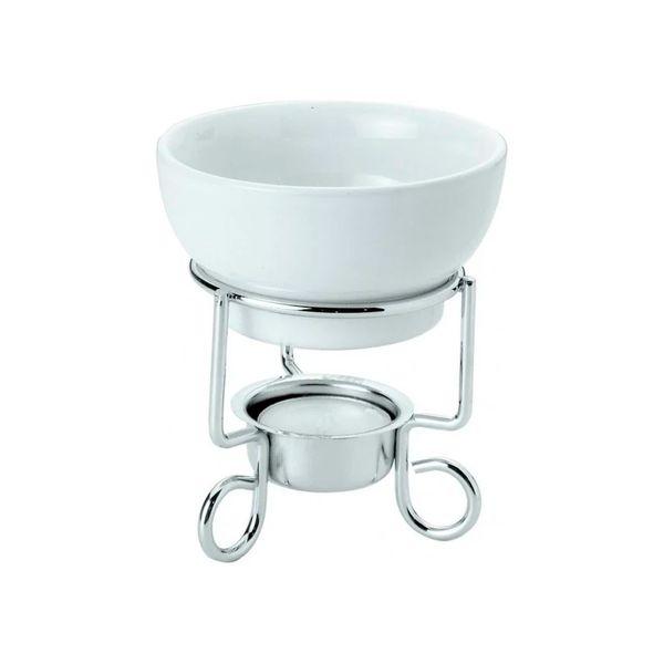 Jogo fondue cerâmica branca 12x9cm