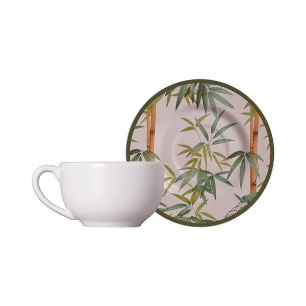 Xícara chá com pires bambu 210ml Alleanza